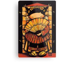 Chinese Red Fan Girl Metal Print