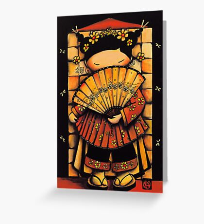 Chinese Red Fan Girl Greeting Card
