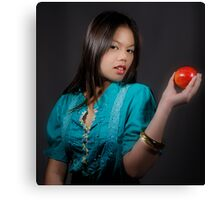 Girl with an Apple Canvas Print