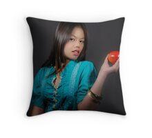 Girl with an Apple Throw Pillow