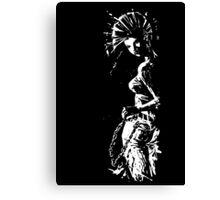 black and white Punk Girl Canvas Print
