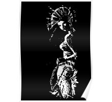 black and white Punk Girl Poster