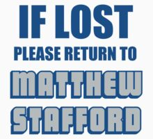IF LOST PLEASE RETURN TO MATTHEW STAFFORD Kids Clothes