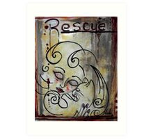 Cat Rescue Adoption Advocacy Folk Art Loralai Art Print