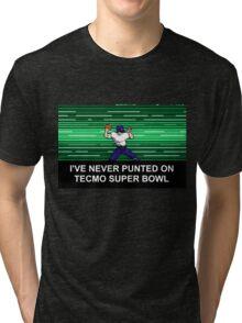 NES Nintendo Tecmo Super Bowl Never Punted Tri-blend T-Shirt
