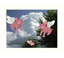 FLYING PIGS .. PIGGLETS DROP AND PLAY.. PICTURE AND OR CARD Art Print