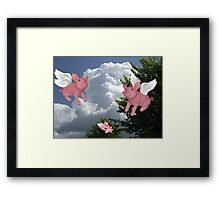 FLYING PIGS .. PIGGLETS DROP AND PLAY.. PICTURE AND OR CARD Framed Print