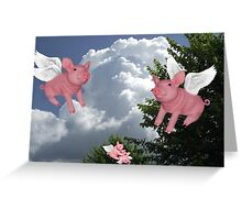 FLYING PIGS .. PIGGLETS DROP AND PLAY.. PICTURE AND OR CARD Greeting Card