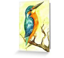 King Fisher Bird Watercolours Greeting Card