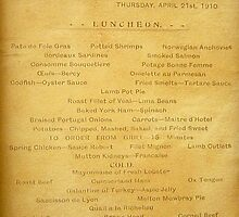 Lusitania Menu by Valeria Lee