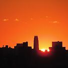 Orangey Sunset in New York City  by Alberto  DeJesus
