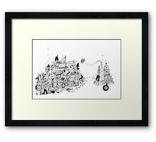 Traumstadt mit Überbrückung / city of dreams with bridge Framed Print