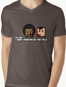 Toon Quote : Pulp Fiction - I Shot Marvin in the Face Mens V-Neck T-Shirt