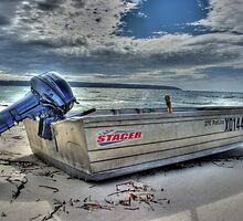 Island Beach, Kangaroo Island - Lone Boat #2 HDR by Harry Dinnen