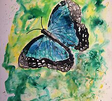 Blue butterfly yupo painting by derekmccrea