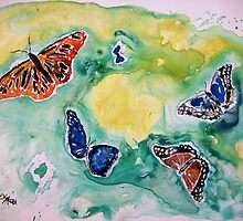 3 butterflies yupo painting by derekmccrea