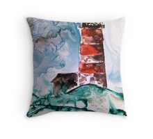 Sapelo Island Lighthouse watercolor on yupo paper Throw Pillow