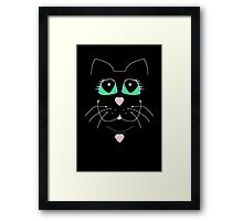 Cat With Sweet Heart Pendant Framed Print