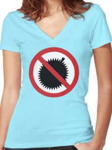 NO Durian Tropical Fruit Sign Women's Fitted V-Neck T-Shirt