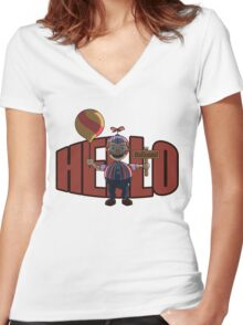 Hello (Balloon Boy) Women's Fitted V-Neck T-Shirt