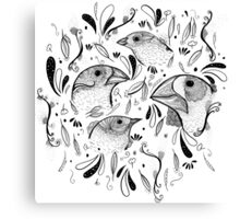Fine Finches (linework) Canvas Print