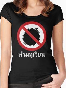 NO Durian Tropical Fruit Sign ~ Thai Language Script Women's Fitted Scoop T-Shirt