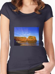 Red Rock in Sea Women's Fitted Scoop T-Shirt