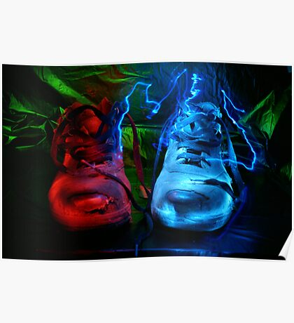 Old boots painted with light Poster