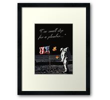 Goombas on the Moon (with text) Framed Print
