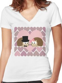 Hedgehogs and Hearts Women's Fitted V-Neck T-Shirt