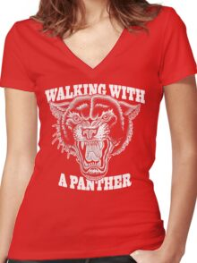 Walking with a panther tattoo design Women's Fitted V-Neck T-Shirt