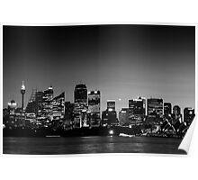 Sydney Sunset 1492 BW Poster
