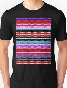 Colorful Chevron Stripes Burlap Linen Rustic Jute Unisex T-Shirt