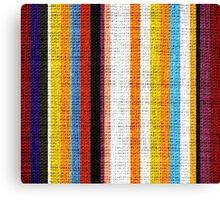 Colored Stripes Burlap Linen Rustic Jute Canvas Print