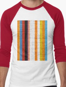 Colored Stripes Burlap Linen Rustic Jute Men's Baseball ¾ T-Shirt