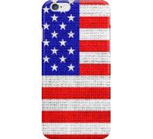 American Flag on Burlap Linen Rustic Jute iPhone Case/Skin