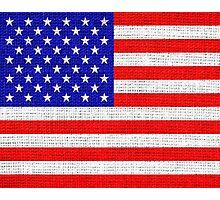 American Flag on Burlap Linen Rustic Jute Photographic Print