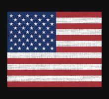 American Flag on Burlap Linen Rustic Jute by Nhan Ngo