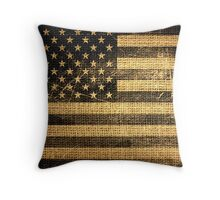 Vintage American Flag on Burlap Linen Rustic Jute Throw Pillow