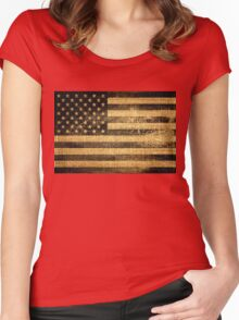 Vintage American Flag on Burlap Linen Rustic Jute Women's Fitted Scoop T-Shirt