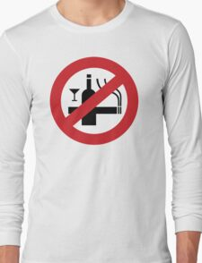 NO Smoking Alcohol Sign Long Sleeve T-Shirt