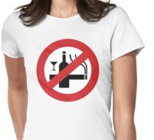 NO Smoking Alcohol Sign Womens Fitted T-Shirt