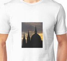 Silhouette of a European Cathedral Spires Unisex T-Shirt