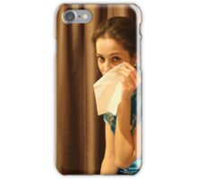 Woman with tissue iPhone Case/Skin