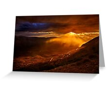 Rain falling on the road to Delphi Greeting Card