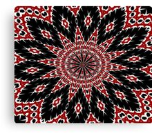 Black Red and White Bold Floral Kaleidoscope Canvas Print