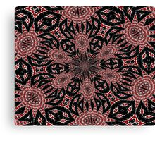 Intricate Black Red and White Kaleidoscope Canvas Print