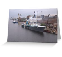 Russian Cargo Ship At Dusk Greeting Card