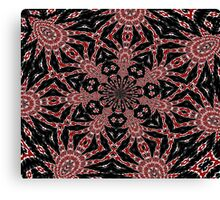 Delicate Black White and Red Lace Kaleidoscope  Canvas Print
