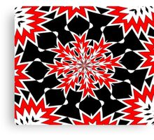 Bizarre Red Black and White Pattern 2 Canvas Print